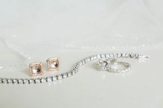 morgonite-halo-earrings-set-in-rose-gold-tennis-bracelet-cushion-cut-solitaire-engagement-ring
