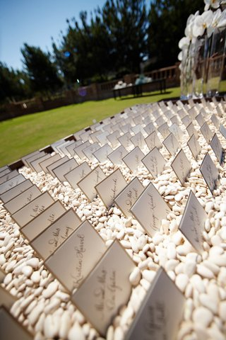 white-calligraphy-seating-cards-in-white-pebbles