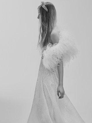 black-and-white-photo-of-elie-saab-bridal-spring-2017-feather-bolero-strapless-ball-gown-wedding