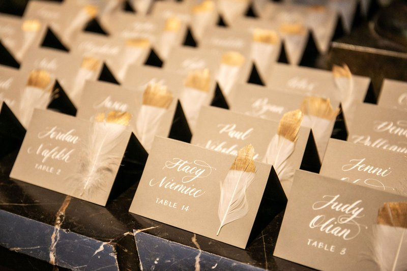 Escort Cards with Gold-Dipped Feathers