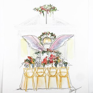 sketch-drawing-design-of-styled-wedding-shoot-tablescape-colorful-wings-mediterranean