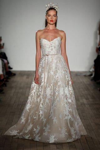anne-barge-fall-2019-wedding-dress-luca-flower-embellishments-lace-velvet-belt-strapless-gown