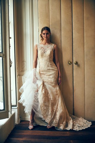 perla-eddy-k-for-bhldn-lace-wedding-dress-with-mermaid-skirt-and-lace-high-neckline