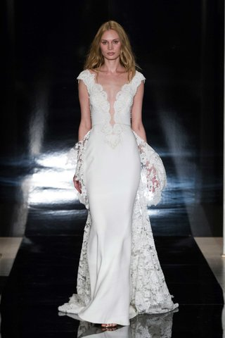 look-2-wedding-dress-spring-2017-reem-acra-lace-overskirt-and-plunging-neckline