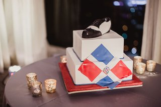 grooms-wedding-cake-two-layer-dominican-republic-flag-and-dance-shoe-black-and-white-personalized