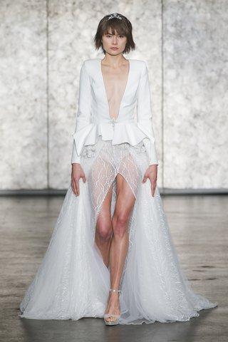 inbal-dror-fall-2018-peplum-deep-v-coat-dress-with-fully-sequined-front-slit-tulle-ballerina-skirt