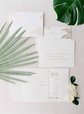 white-and-tan-natural-wedding-invitations-for-destination-wedding-in-key-west-with-palm-fronds