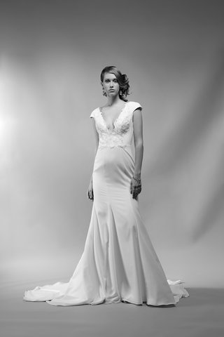 black-and-white-photo-of-bridgitte-by-ivy-aster-crepe-trumpet-gown-plunging-neckline-lace-bodice