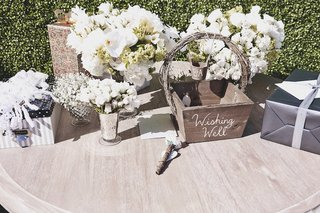 wishing-well-guest-book-and-small-floral-arrangements
