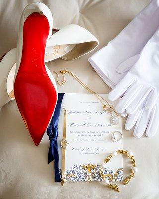 wedding-invitation-royal-blue-and-gold-classic-watch-white-gloves-christian-louboutin-shoes-heels