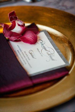brock-osweiler-and-erin-costales-wedding-menu-in-burgundy-napkin