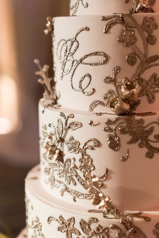 wedding-cake-with-blush-fondant-and-gold-frosting-embellishments-monogram-and-flowers