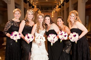 bride-with-bridesmaids-in-mismatched-dark-dresses
