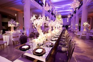 purple-wedding-reception-with-long-formal-table-in-center