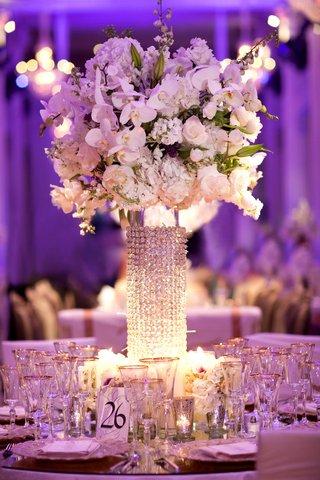purple-wedding-reception-with-crystal-centerpiece