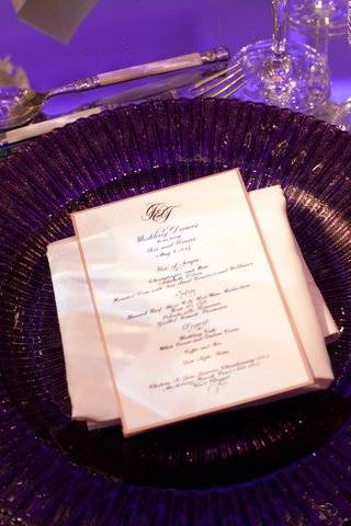 white-and-gold-menu-card-with-purple-charger-plate
