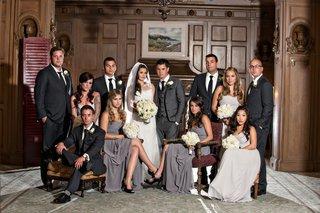 bridesmaids-wear-gray-dresses-and-groomsmen-wear-black-suits