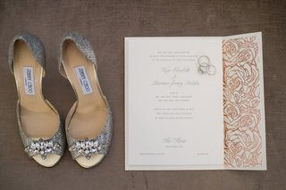 silver-jimmy-choo-heels-wedding-bands-and-invite