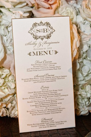 wedding-menu-card-with-script-font-calligraphy-monogram-gold-border-rim-first-course-second-entree