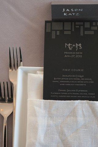 art-deco-inspired-menus-in-white-linen-napkin