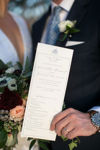 wedding-program-with-modern-calligraphy-ceremony-proceedings-and-custom-crest-pineapple-motif