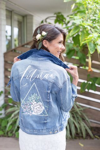 wedding-accessories-for-bride-custom-jean-jacket-with-new-last-name-and-flower-succulent-design