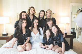 short-sleeve-and-short-black-silk-pajamas-for-bridesmaids-and-flower-girl-with-bride-on-bed-in-lace