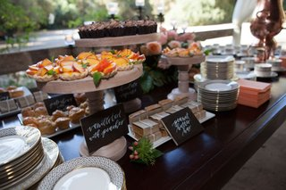 wedding-reception-dessert-table-with-wood-signs-and-an-array-of-cake-stands-and-serving-platters
