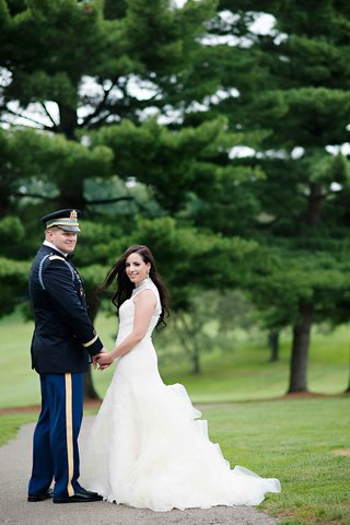 bride-in-vera-wang-high-neck-gown-and-groom-in-dress-blues-uniform