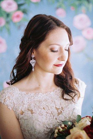 beauty-beast-movie-styled-wedding-shoot-princess-belle-red-lips-crystal-earrings-model-soft-feminine