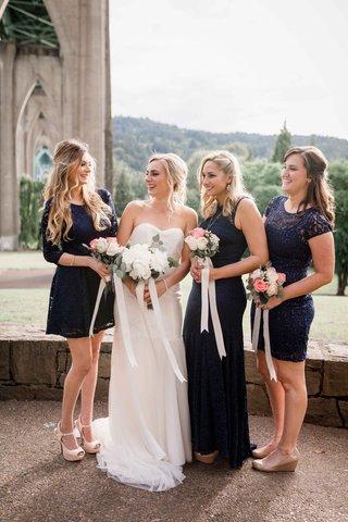bridesmaids-navy-blush-white-bouquets-bride-ivory-strapless-gown-portland-oregon-outdoor-wedding
