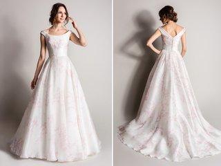 white-and-pink-flower-print-wedding-dress