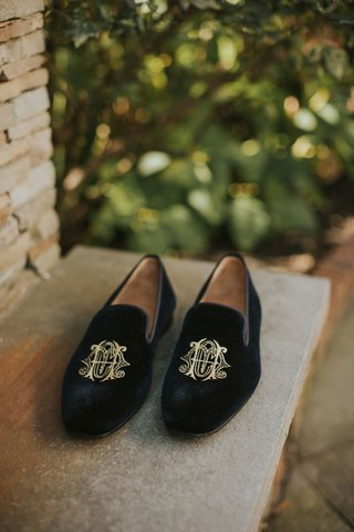 groom-shoes-black-velvet-loafers-with-gold-embroidery-monogram-on-shoe