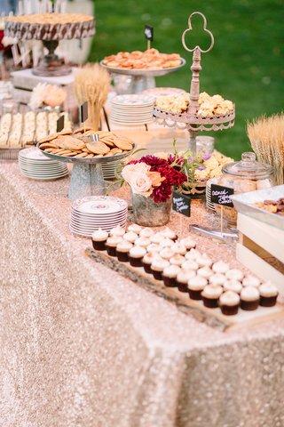 dessert-display-rose-gold-metallic-linen-rustic-chic-wedding-professional-event-cookies-cupcakes
