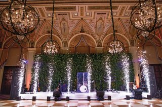 wedding-reception-at-the-breakers-indoor-fireworks-in-front-of-bands-stage
