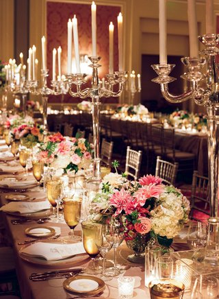wedding-reception-long-table-pink-white-centerpiece-low-with-tall-candelabra-crystal-gold-details