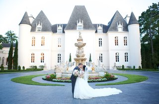 chateau-wedding-venue-in-houston-texas-bride-in-cathedral-length-train-dress