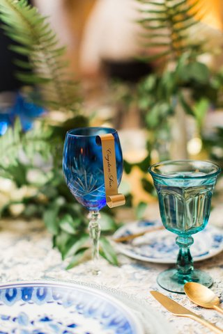 wedding-reception-blue-goblet-with-gold-scroll-seating-card-place-card-wedding-reception-gold