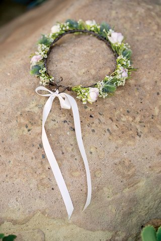 wedding-accessories-pink-white-flower-rose-bud-with-greenery-halo-light-pink-ribbon-rustic-wedding