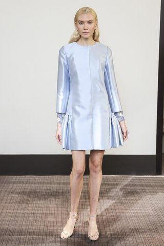 gracy-accad-fall-2018-blue-silk-wool-coat-dress-with-flounced-bottom-jeweled-cuffs-on-long-sleeves