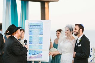 bride-and-groom-smile-at-oceanfront-ceremony-with-watercolor-ketubah-displayed-at-wedding