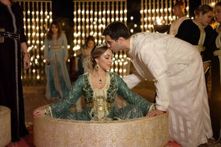 bride-groom-traditional-moroccan-wedding-garb-marrakech-family-three-dresses-gowns-customs