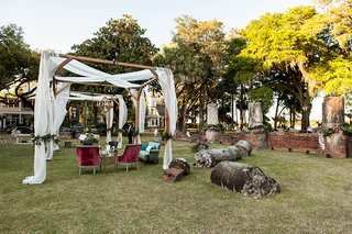 canopy-over-lounge-area-velvet-vintage-inspired-setting-at-montage-palmetto-bluff-outdoor-wedding