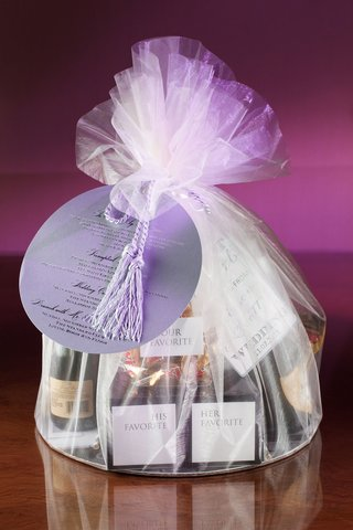 wedding-gift-ideas-favor-bag-welcome-filled-with-bride-and-grooms-favorite-items-and-champagne