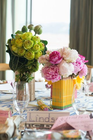 pink-peony-flowers-in-pencil-centerpiece-and-green-flowers-in-ruler-centerpiece-place-cards-school