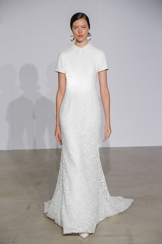 justin-alexander-fall-2018-crepe-short-sleeve-collared-bodice-with-lace-skirt