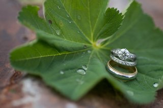 brides-solitaire-tiffany-co-engagement-ring-and-diamond-wedding-band-on-green-leaf-in-montana