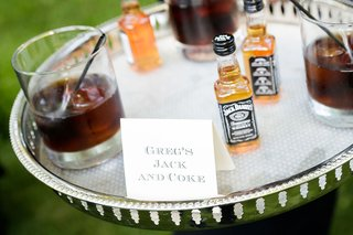 grooms-jack-and-coke-signature-drink-on-silver-tray-wedding-cocktail-hour-ideas