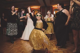 gold-sequin-flower-girl-dancing-with-sunglasses
