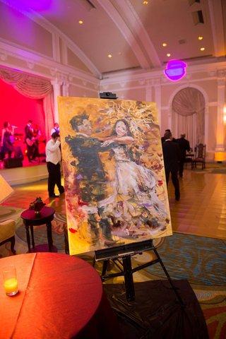 live-painting-couple-dancing-reception-florida-jewish-renaissance-wedding-still-life-art